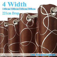 Eyelet Ready Made BLOCKOUT Curtain from 140cm-300cm JACQUARD brown circle