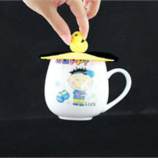 New Silicone Leakproof Coffee Mug Suction Lid Cap Airtight Sealed Cup Cover Cute