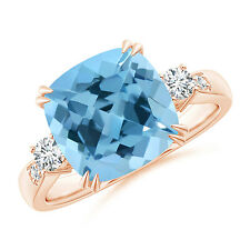 Cushion Swiss Blue Topaz Solitaire Ring with Diamond Accents 14k Rose Gold