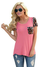 Fashion Women T-shirt Rosy Leopard Print Spliced Crew Loose Tops Casual Blouse