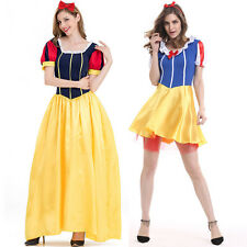 Adult Women Snow White Princess Fancy Dress Halloween Costume Fairy Tale Outfit