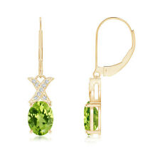 XO Diamond with Solitaire Peridot Leverback Drop Earrings in 14k Yellow Gold