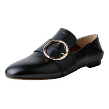Real Leather Flats Loafer Slip on Mules Shoes Women Vintage Metal rings Moccasin
