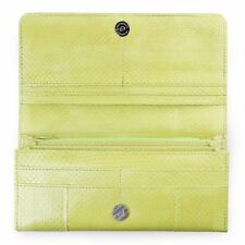 Genuine Sea Snake Skin Leather Trifold Wallet Clutch Purse Womens Lime Green
