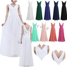 Sexy Women's V Neck Chiffon Bridesmaid Evening Formal Party Long Prom Gown Dress