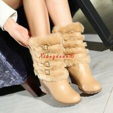 Fashion Womens Wedge Faux Fur Mid Calf Boots Belt Buckles Snow Casual shoes