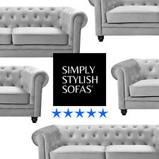 SUSSEX Grey Fabric Chesterfield Sofa 3 + 2 Seater + Armchair + 1 Year Guarantee