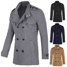 Men's Wool Trench Coat Winter Long Jacket Double Breasted Warm Overcoat Fashion