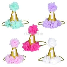 Infant Princess Baby Girl 1st Birthday Flower Cone Crown Headwear Hairband Party