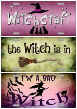 Halloween Witch License Plate, Aluminum Metal Signs, Witchcraft, Monster, Devil