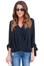 Womens Casual  V Neck Ruched Tie Sleeve Blouse Loose T-shirt Tops Tank Vest