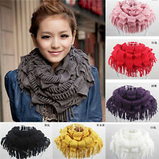 Women's Warm Infinity 2 Circle Cable Knit Cowl Neck Tassel Fashion Scarf Shawl