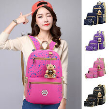 Retro Women Girl Travel Canvas Rucksack Backpack Tote School Shoulder Bag Set UK