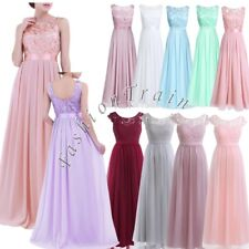 Elegant Women Lace Chiffon Bridesmaid Wedding Gown Long Evening Prom Ball Dress