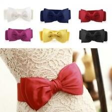 New Fashion Women Bowknot Buckle Waistband Waist Belt Elastic Bow Wide Stretch