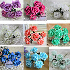 54 Real Touch Roses Bouquet Artificial Flowers Wedding Party Centerpiece Decor