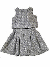 Pippa & Julie 2pc Navy/Ivory Rose Print Classy Little Girls Skirt Outfit 4 5 6x