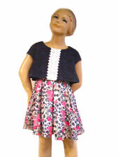 Lipstik Girl Pleated Floral Denim Overlay Dress w/Lace for School NWT 4 6X 8