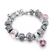 Silver Blue Color Crystal Decorated Round Shape Charm Bracelet For Women