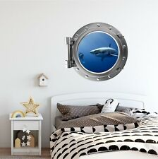 Shark #5 Porthole Window Wall Decal Ocean Wall Art Vinyl Graphic Removable