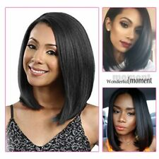 Women Short Straight BOB Sleek Hair with bang Synthetic Cosplay Wig Party US