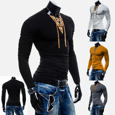Muscle Long Sleeve Slim Fit V-Neck Mens Tee Tops lace-up T-shirt Sexy New O1064