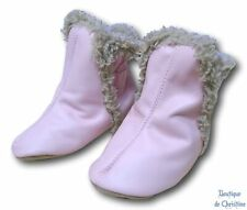 ROBEEZ Soft Leather Girls Pink Classic Fur Crib Shoes Booties - 12-18 mos.