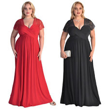 Womens Short Sleeve Lace V Neck Black Ruched Cocktail Gown Long Plus Dress USA