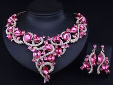 Unique Fashion Fake Crystal Necklace Earrings Jewelry Set For Women