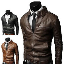 Men's Faux Leather Slim Jacket Fit Biker Motorcycle Jacket Collar Coat Outwear