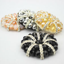 A Pair Beaded Beads Crystal Round Shoe Clips Charms Pair Blue Black Pink Gold