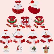 Baby Girl Kids Romper My 1st Christmas Outfit Party Tutu Skirt Dress Set Costume