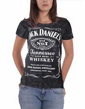 Jack Daniels T Shirt Marble Wash classic logo Official Womens skinny fit Grey