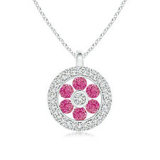 """Natural Pink Sapphire Flower Pendant Necklace with Diamond White Gold 18"""" Chain"""