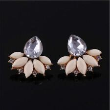 Women 3 Candy Color Zinc Alloy Metal Floral Pattern Stone Decorated Earrings