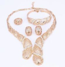 Women Gold and Silver Color Necklace Ring Bracelet Earring Jewelry Set