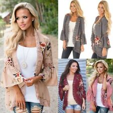 UK Womens Floral Lace Frill Long Sleeve Kimono Tops Ladies Coat Jacket Cardigans
