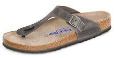 Birkenstock Waxy Leather GIZEH $199.95rrp Iron BNIB SOFT FOOTBED 1005215