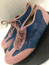 Roberto Cavalli Angels RARE Pink Blue Suede Sneakers Lace Up Flats EU 38 US 7
