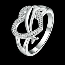 Women 925 Sterling Silver Plated Love & Heart Promise Band Ring Size Jewelry