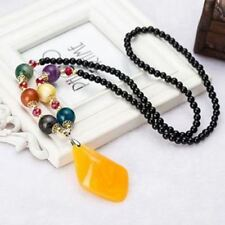Women Fashion Collection Solid Pattern Colorful Beads Decorated Pendant Necklace