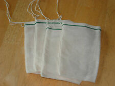 """Cotton Muslin Bags with Green Hem and White Drawstrings – 4"""" x 6"""""""