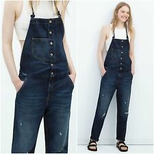 ZARA Woman BNWT Authentic Navy Blue Denim Dungarees With Suspenders S M 6688/012