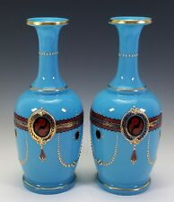 PAIR ANTIQUE FRENCH BLUE OPALINE GLASS VASES W/ JEWELED GOLD ENAMEL DECORATION
