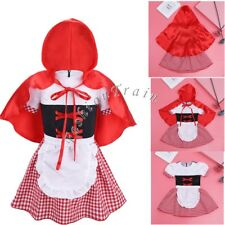 Halloween Baby Girls Fairytale Princess Fancy Dress Red Hooded Cloak Costumes