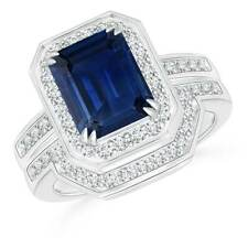 2.74 ct Emerald Cut Blue Sapphire Engagement Ring Set With Diamond Band 14k Gold