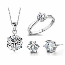 Women Crystal Wedding Sets Sterling Silver Pendent Earrings Ring Jewelry Set