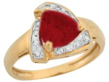 10k or 14k Yellow Gold Simulated Garnet White CZ Accent Ladies Fashion Ring