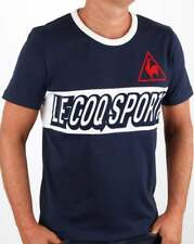 Le Coq Sportif Tricolore Football T Shirt in Navy Blue - short sleeve