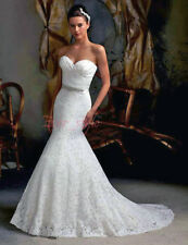 Mermaid White Lace Wedding dress Bridal Gown size 6-8-10-12-14-16++